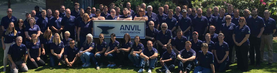 Group of employees in front of Anvil sign