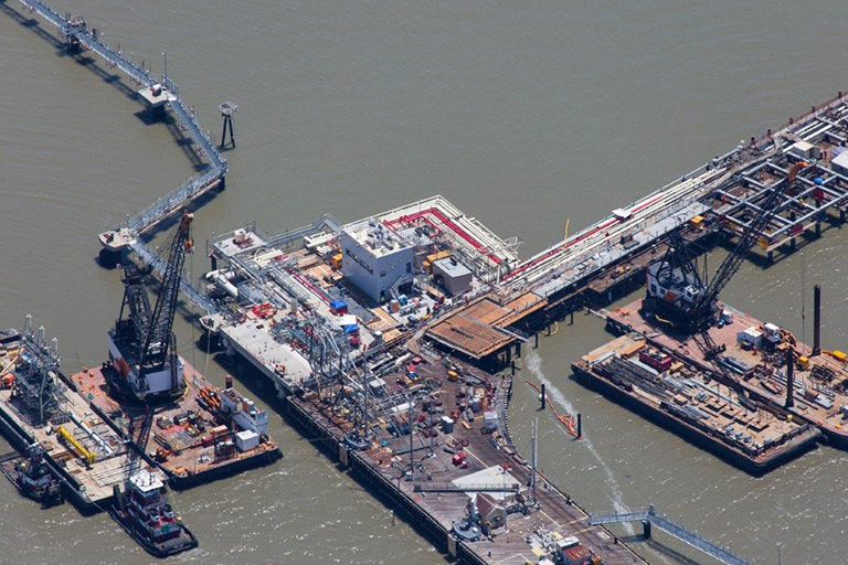 Aerial photo of wharf being constructed