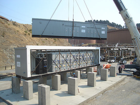 Substation lifted into place